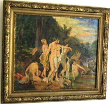 Pictură; Femei scăldându-se la pârâul de pădure - Persoană fizică - REGHIN
