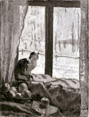 Pictură; Iarnă la fereastră - Muzeul Judeţean Mureş. Secţia de Artă - TÂRGU MUREŞ