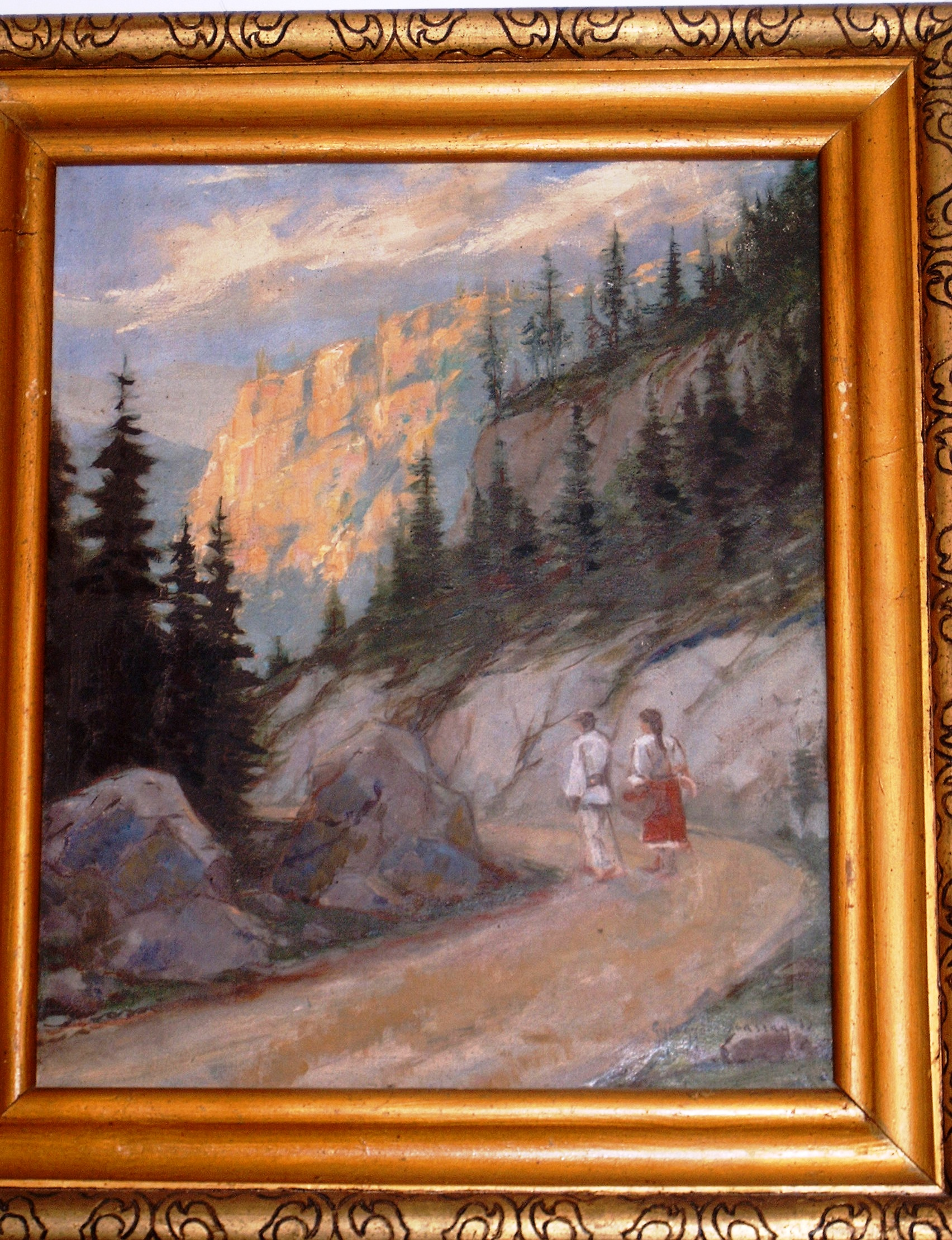 PicturăPereche de ţărani pe drum de munte - Persoană fizică - REGHIN